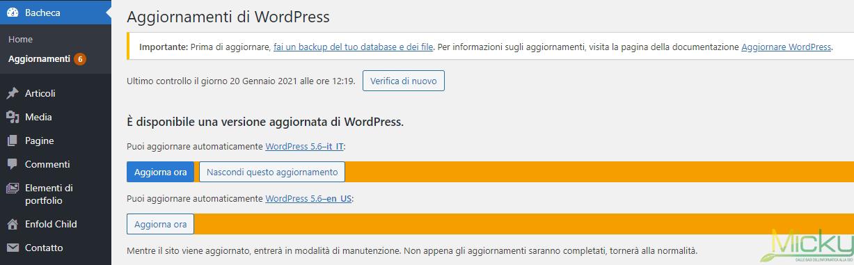 Bacheca aggiornamenti WordPress
