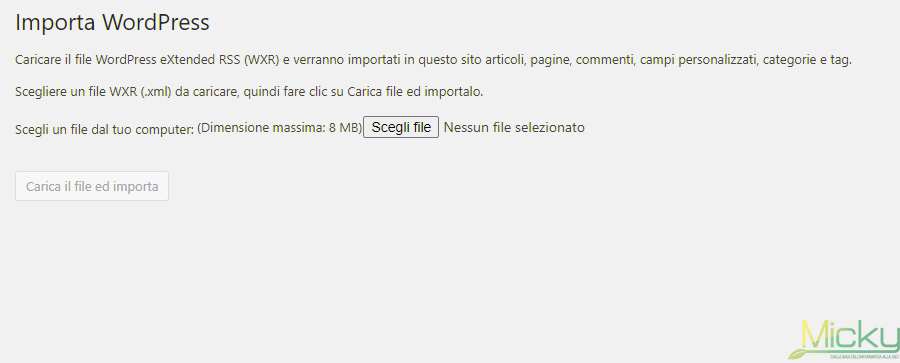 Importatore WordPress - Importa