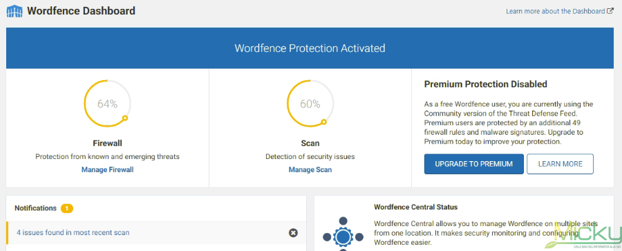 Wordfence Security Dashboard