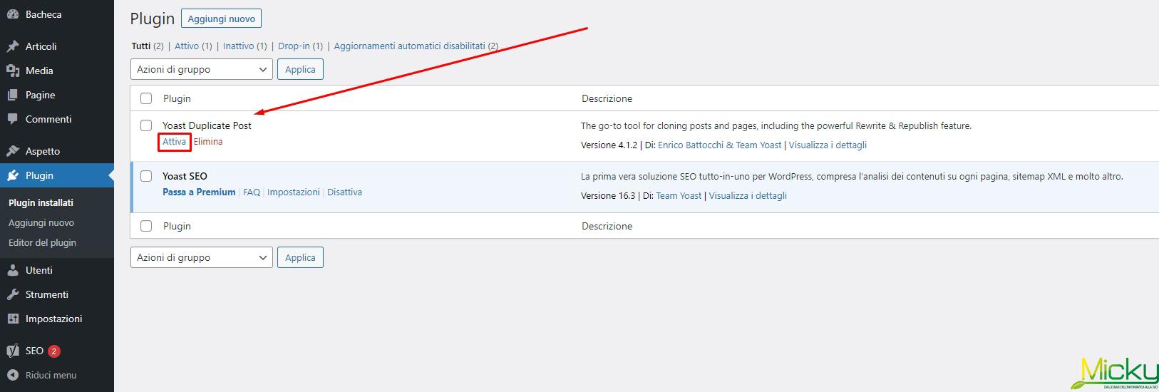 Plugin Installati WordPress